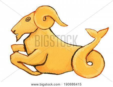 Astrological Sign Of The Zodiac Capricorn As A Gingerbread, Isolated On A White Background