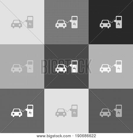 Electric car battery charging sign. Vector. Grayscale version of Popart-style icon.