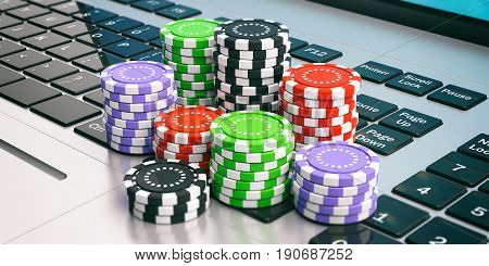 Casino Chips On A Laptop. 3D Illustration