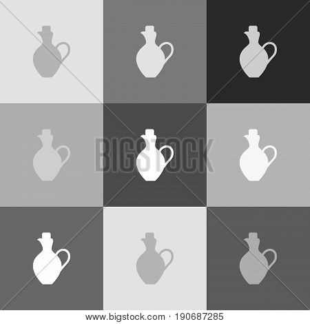 Amphora sign illustration. Vector. Grayscale version of Popart-style icon.