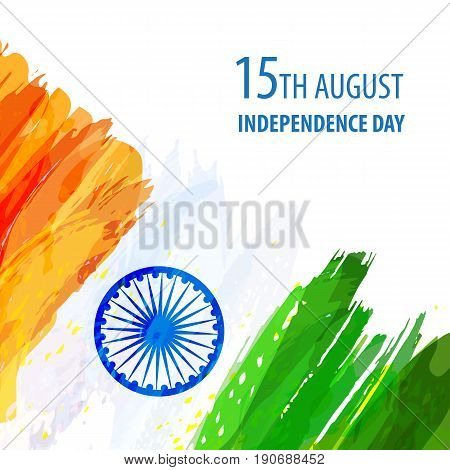 Indian Independence Day celebration. Creative watercolor background in national flag tricolour. Hand drawn watercolor flag. Template for cover design, greeting card, brochure. Vector Illustration