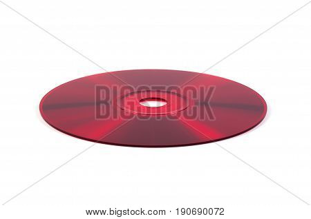 Red CD compact disc isolated on white background