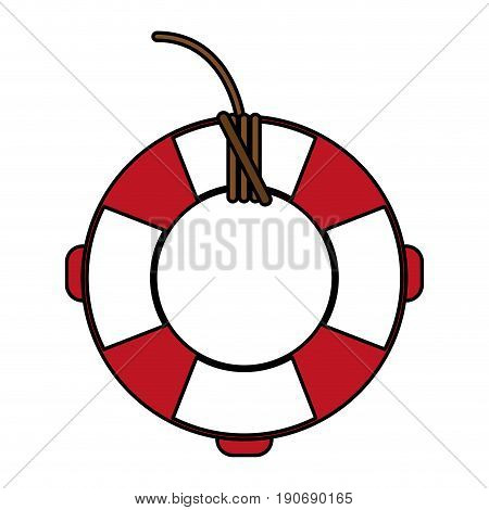 Red and white lifesaver over white background vector illustration
