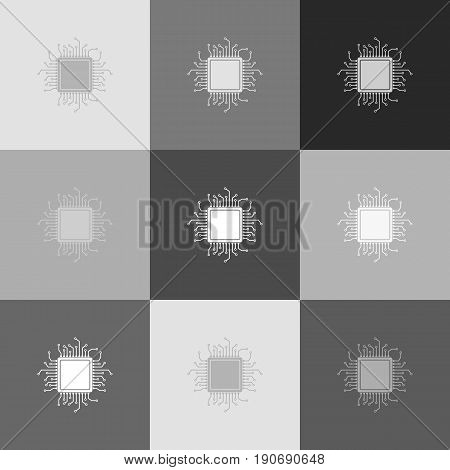 CPU Microprocessor illustration. Vector. Grayscale version of Popart-style icon.