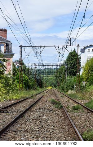 Empty rail tracks in Lourdes, France, Pyrenees