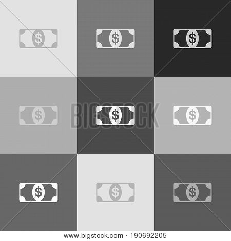 Bank Note dollar sign. Vector. Grayscale version of Popart-style icon.