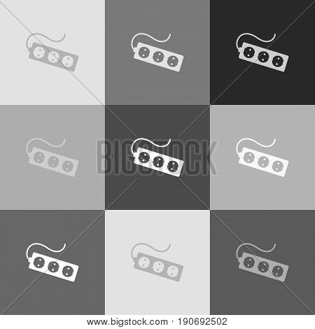 Electric extension plug sign. Vector. Grayscale version of Popart-style icon.