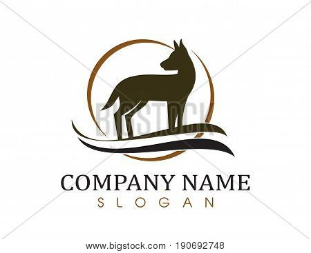Dog brown logo on a white background