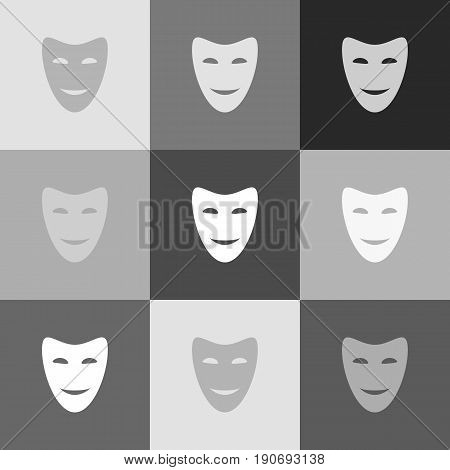 Comedy theatrical masks. Vector. Grayscale version of Popart-style icon.