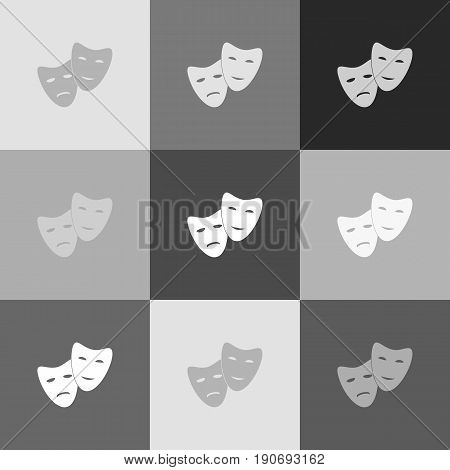 Theater icon with happy and sad masks. Vector. Grayscale version of Popart-style icon.