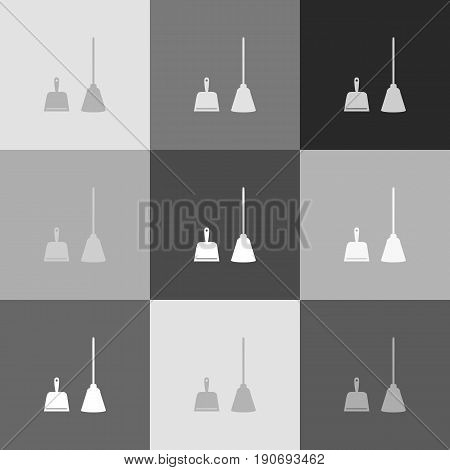 Dustpan vector sign. Scoop for cleaning garbage housework dustpan equipment. Vector. Grayscale version of Popart-style icon.