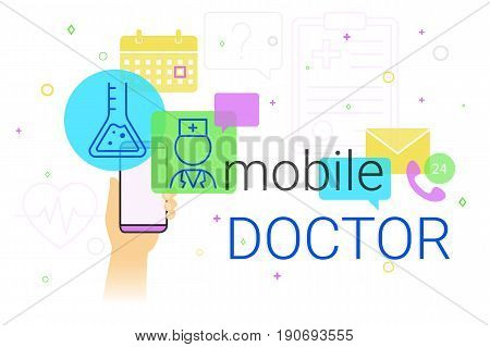 Mobile doctor and medicine research results on smartphone concept illustration. Human hand holds smart phone with app for health care and medical support. Creative healthcare banner