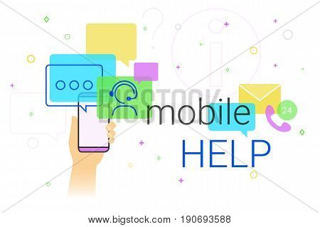 Mobile help and online support on smartphone concept illustration. Human hand holds smart phone with app for chatbot assistance and emergency support. Creative costumer helpdesk banner
