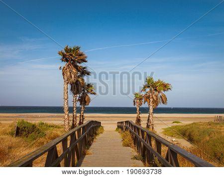 Beach los Lances Tarifa Andalusia Spain Europe. Tarifa is the southmost City of Europe a a famous tourist destination