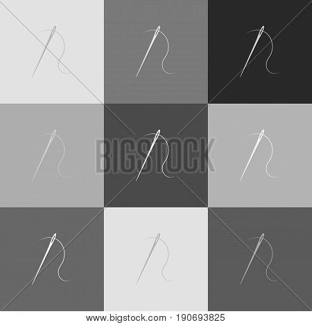 Needle with thread. Sewing needle, needle for sewing. Vector. Grayscale version of Popart-style icon.