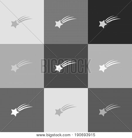 Meteor shower sign. Vector. Grayscale version of Popart-style icon.