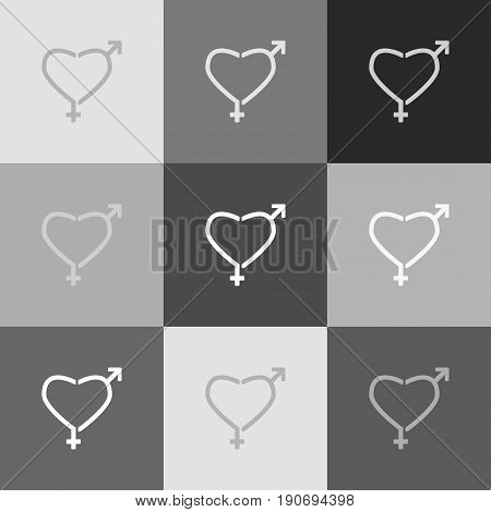 Gender signs in heart shape. Vector. Grayscale version of Popart-style icon.