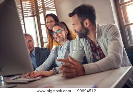 Creatives business woman leading casual meeting