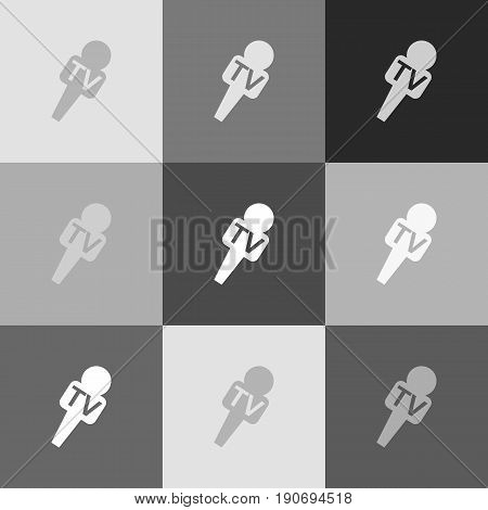 TV microphone sign illustration. Vector. Grayscale version of Popart-style icon.