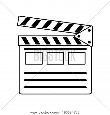 clapperboard movie icon image vector illustration design  black line