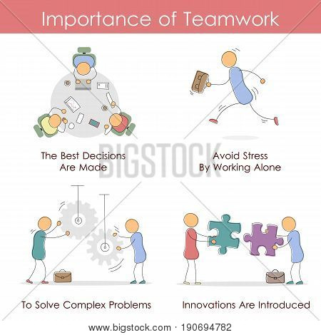 Vector infographic in hand drawing doodle style - Importance of Teamwork. Four icons steps.