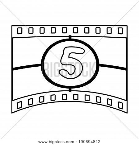 video tape segment with number countdown  icon image vector illustration design  black line
