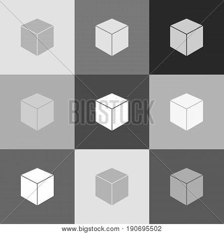 Cube sign illustration. Vector. Grayscale version of Popart-style icon.