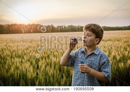 serene boy blowing up the soap bubbles on wheat field, sepia toned landscape