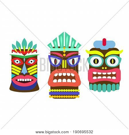 Tiki mask cartoon vector set. Hawaiian bar decorations isolated on white.
