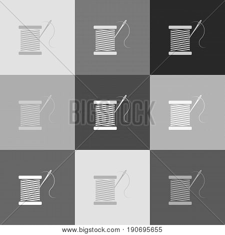 Thread with needle sign illustration. Vector. Grayscale version of Popart-style icon.