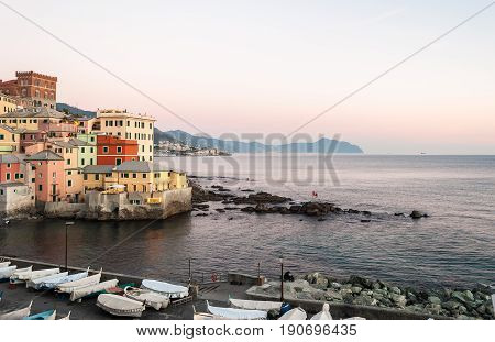 Boccadasse a small sea district of Genoa during the twilight
