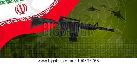 Iran military power army defense industry war and fight country national celebration with gun soldier jet fighter and radar vector.