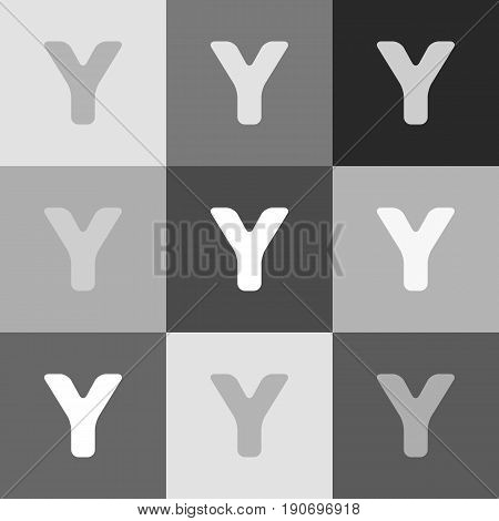 Letter Y sign design template element. Vector. Grayscale version of Popart-style icon.