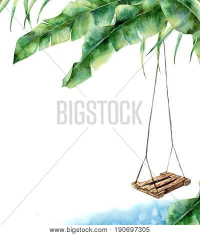 Watercolor tropical card with swing. Hand painted porch swing on banana palm isolated on white background. Tropical print for design, print or background.