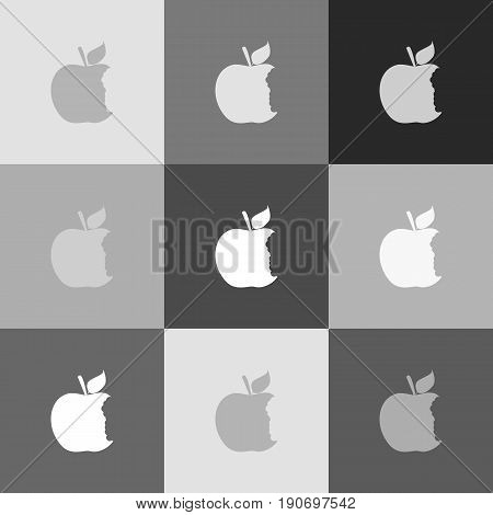 Bite apple sign. Vector. Grayscale version of Popart-style icon.