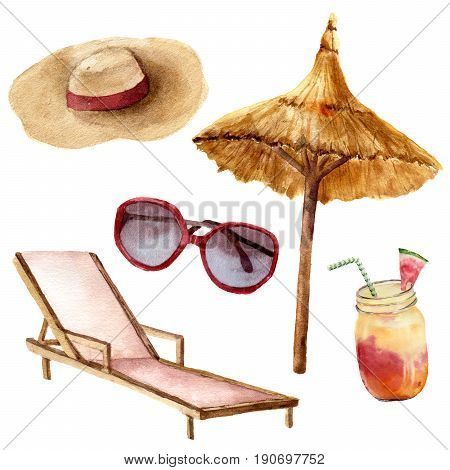 Watercolor tropical vacation set. Hand painted summer beach objects: sunglasses, beach umbrella, cocktail, beach chair and straw hat. Illustration isolated on white background