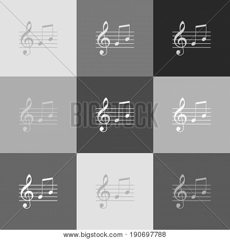 Music violin clef sign. G-clef and notes G, H. Vector. Grayscale version of Popart-style icon.