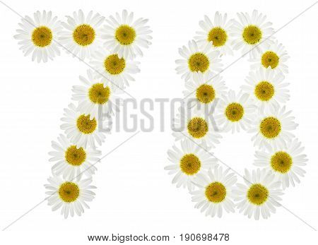 Arabic Numeral 78, Seventy Eight, From White Flowers Of Chamomile, Isolated On White Background