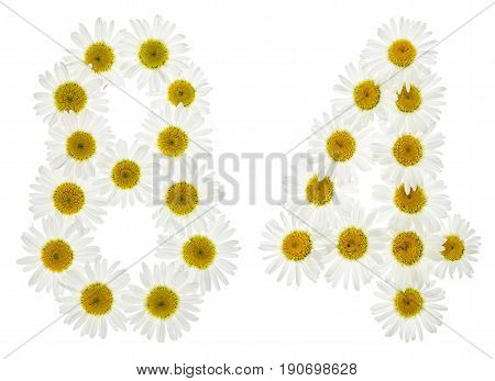 Arabic Numeral 84, Eighty Four, From White Flowers Of Chamomile, Isolated On White Background
