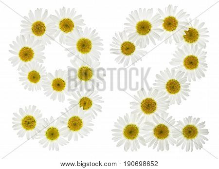 Arabic Numeral 92, Ninety Two, From White Flowers Of Chamomile, Isolated On White Background