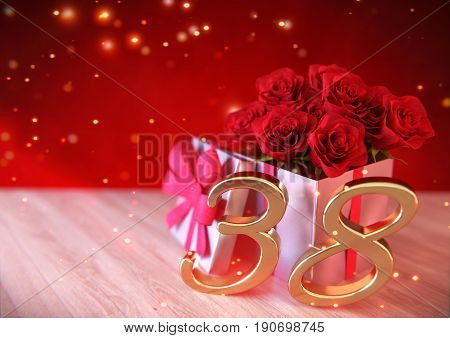 birthday concept with red roses in the gift on wooden desk. 3D render - thirty-eighth birthday. 38th