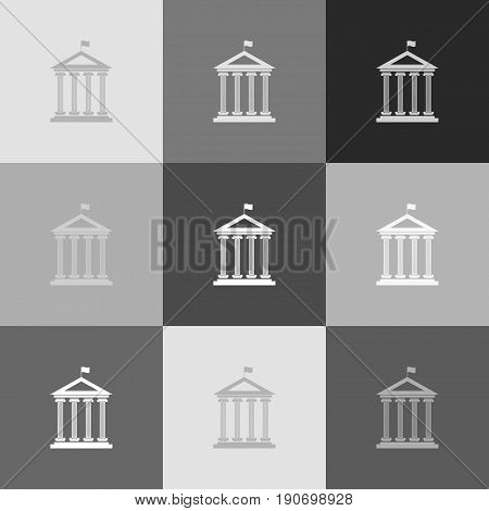 Historical building with flag. Vector. Grayscale version of Popart-style icon.