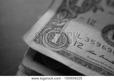 One Dollar Black & White Close Up High Quality