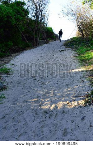 Lonely Path, person on a lonely beach path