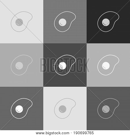Omelet sign. Flat designed style icon. Vector. Grayscale version of Popart-style icon.