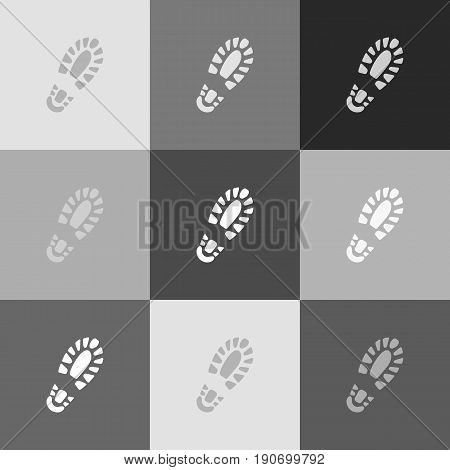 Footprint boot sign. Vector. Grayscale version of Popart-style icon.