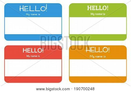 Introduction name card with classic phrase: Hello! My name is in 4 different colors and with use of 4 different fonts all isolated on white also can be used as tag stickers blank template