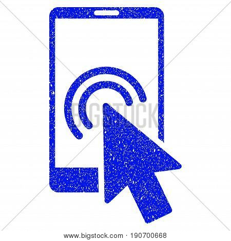 Grunge Arrow Double Click Smartphone icon with grunge design and unclean texture. Unclean vector blue pictogram for rubber seal stamp imitations and watermarks. Draft sign symbol.