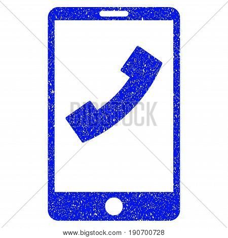 Grunge Cell Phone icon with grunge design and unclean texture. Unclean vector blue pictogram for rubber seal stamp imitations and watermarks. Draft emblem symbol.