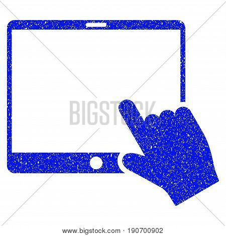 Grunge Hand Pointer Tablet icon with grunge design and dust texture. Unclean vector blue pictogram for rubber seal stamp imitations and watermarks. Draft emblem symbol.